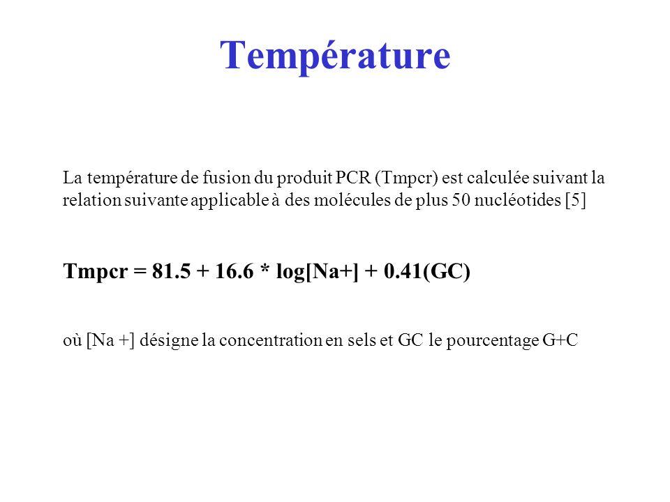 Température Tmpcr = 81.5 + 16.6 * log[Na+] + 0.41(GC)